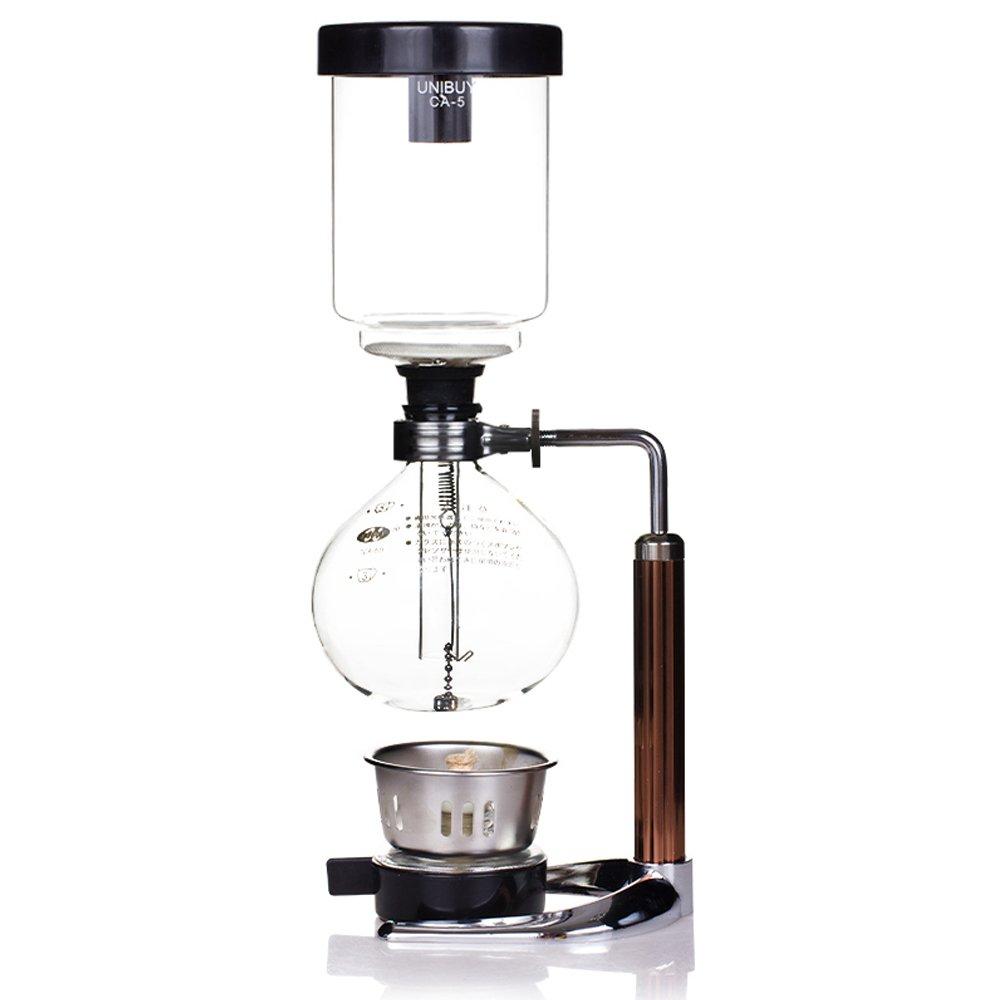 TAMUME 5 Tazas Cafetera Sifón Fabricante Aspiradora Cafetera para la Elaboración de la Cerveza Café y Té con la Manija Extendida(5 Tazas)