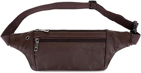 Nouveau cuir noir sacoche sac banane ceinture 6 la poche zippée 054