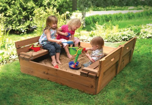 046605999882 - Badger Basket Covered Convertible Cedar Sandbox with Bench Seats, Natural carousel main 3