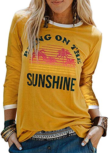 Enmeng Womens Bring On The Sunshine Printed T-Shirt Causal Christian Graphic Tees (S, Long Sleeve-Yellow)
