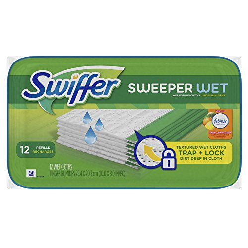 Swiffer Sweeper Wet Mopping Pad Refills for Floor Mop with Febreze Sweet Citrus & Zest Scent 12 Count (Pack of 6)