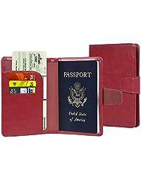 Passport Holder, Passport Cover Passport case Leather RFID Blocking Passport Wallet Cover Travel Case for Men Women with ID Window, Cash Pockets, Credit Card Slots - (Wine Red)