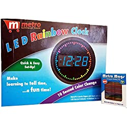 Metro Mags Colorful Digital LED Clock with Circling LED - Blue