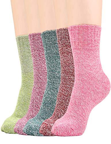 Wool Socks Ankle Crew (Wool Blend Socks Women Winter Warm Causal Crew Sock Knit Cotton Ankle Wools Socks, 5 Pairs)