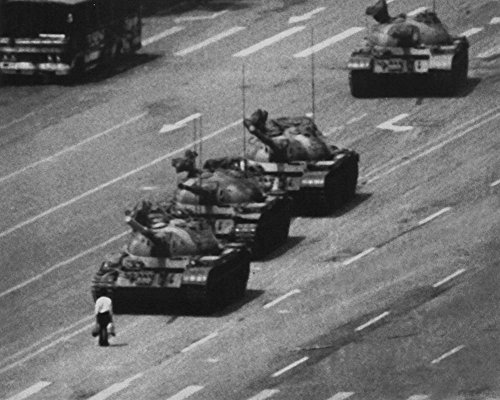 Tank Man Tiananmen Square (Laminated Tiananmen Square Man and Tanks Glossy Photo Photograph Print 10 x 8in)