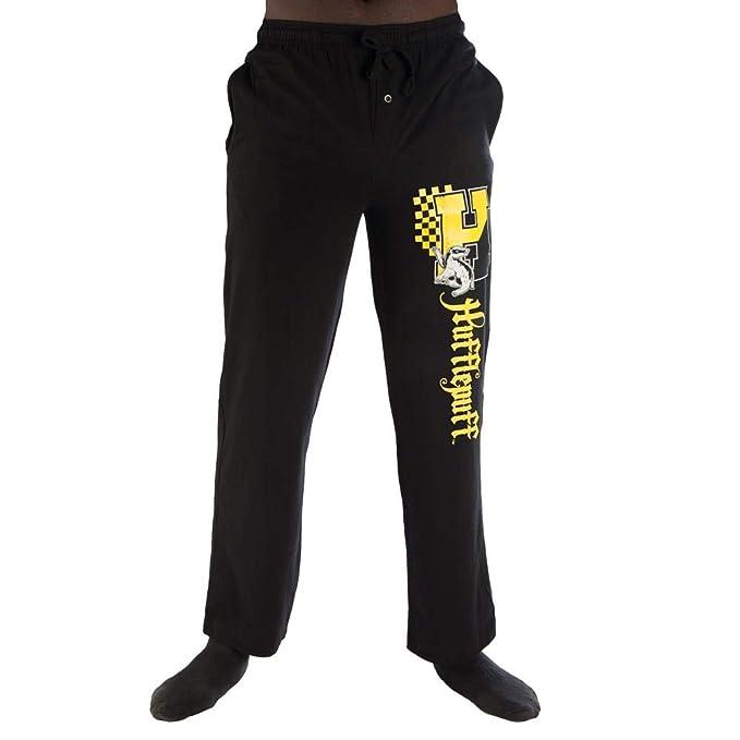 e4fb94a345a1 Bioworld Harry Potter H Hufflepuff Logo Print Men s Loungewear Lounge Pants  Small Black