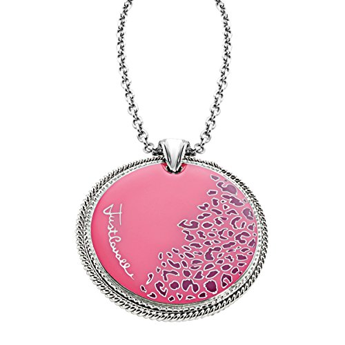 Just Cavalli Pink Leopard Print Pendant Necklace in Sterling Silver-Plated Stainless Steel