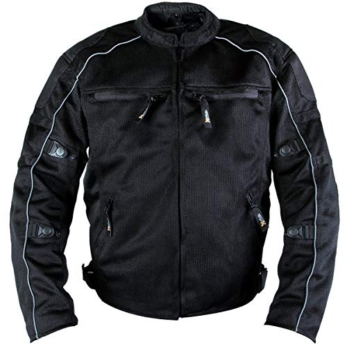Xelement XS6557 'Troubled' Men's Black All Weather Mesh Level 3 CE Armored Motorcycle Jacket - Large