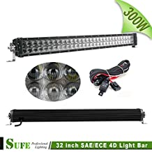 SUFE 32 INCH 300W Dual Row LED Light Bar Osram 4D SAE / ECE High Beam Work Lights For Offroad Truck Tractor SUV ATV 4X4 30000LM IP68 Waterproof High Power Free Wire Harness