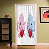 YOLIYANA Elephant Nursery Wear Resisting Door Curtain,Pink and Blue Kid Infant Elephants Holding Hearts Smiling Twins Decorative for Bedroom Living Room Kitchen Bathroom,35.43''W x 78.74''H