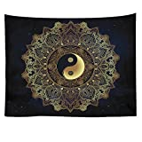HOLY HOME Tapestries Indian Mandala Handcrafts Traditional Buddha Wall Hanging The 8 Tri-Grams Bohemian Hippie Indoor Art Décor Gold 60''x80''
