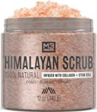 M3 Naturals Himalayan Salt Infused with Collagen and Stem Cell Body and Face Scrub with Lychee Sweet Almond Oil Skin Care Exfoliating Blackheads Acne Scars Reduces Wrinkles Souffle 12 OZ