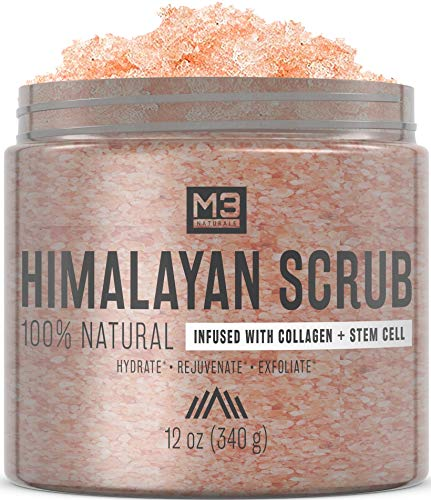 Body Skin Exfoliator Smoothing - M3 Naturals Himalayan Salt Infused with Collagen and Stem Cell Body and Face Scrub with Lychee Sweet Almond Oil Skin Care Exfoliating Blackheads Acne Scars Reduces Wrinkles Souffle 12 OZ