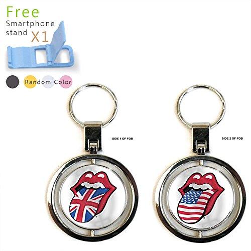 The Rolling Stones Premium Metal Key Chain Key Ring (UK & US Tongues) (Circle Rolling Stones)