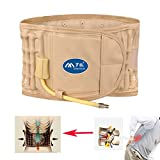 Traction Lumbar Brace- Physio Decompression Lumbar Support Belt- Back Massage Inflatable Waist Support Belt- One Size fit for waist less than 51 in- Khaki