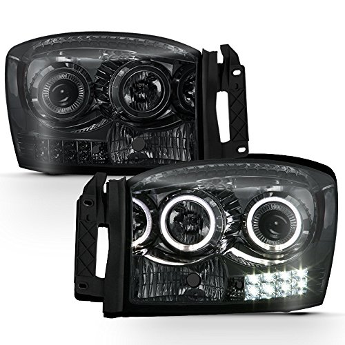 - ACANII - For Smoke 2006-2008 Dodge Ram 1500 2500 3500 LED Halo Projector Headlights Headlamps Driver + Passenger Side