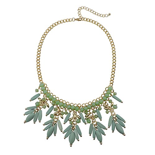 Firstmeet Fashion Women Gold Chain Pendant Costume Necklace (XL-1007-Lucite Green)