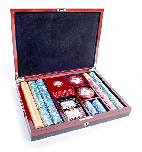 AUTHENTIC APPAREL WPT - World Poker Tour 500 Chip Poker Chip Set with Dice, KEM Playing Cards and 8 Drink -