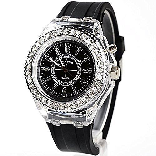 Women's Black Bangle LED Wrist Watch - 1
