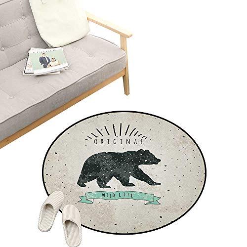 Bear Round Area Rug Super Soft Anti-Slip ,Vintage Wildlife Label Hunting Theme Icon with Random Dots Predator Paws, Children Girls Room Decorato 23