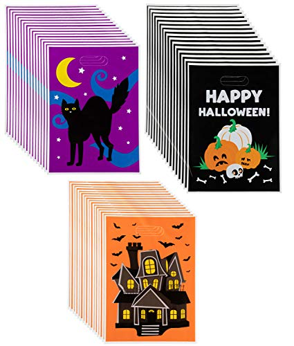 Party Gift Bags - 48-Pack Plastic Treat Bags, Halloween Party Supplies, Party Favor Bags, Goody Bags for Kids, 3 Designs, 13.6 x 9.8 -
