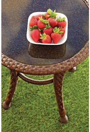 New Better Homes and Gardens Azalea Ridge 20″ Wicker Round Outdoor Side Table 24″h X 19.75″d Steel Frame Glass Top