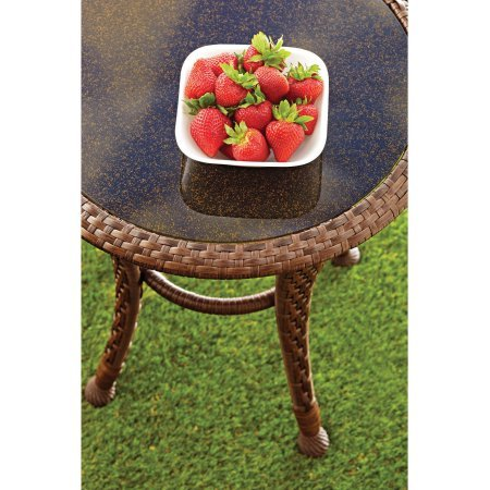 Better Homes and Gardens Azalea Ridge 20 Wicker Round Outdoor Side Table 24 h X 19.75 d Steel Frame Glass Top