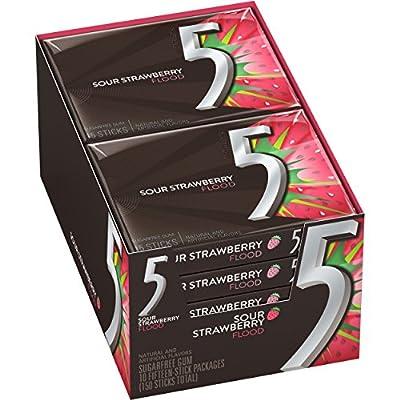 5 Gum Sour Strawberry Flood Sugarfree Gum, 10 Packs