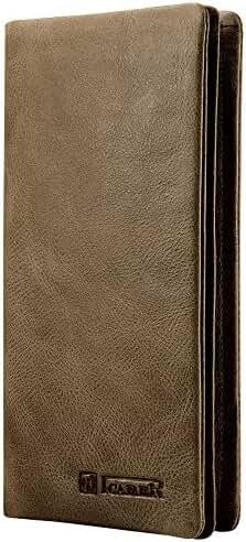 Icarercase Real Leather Bifold Wallet Horizontal Slim Long Purse Card Holder