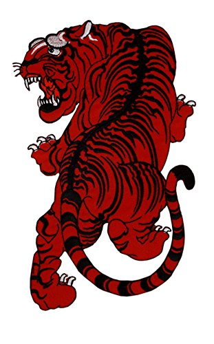 """ Siam Tiger "" Big Patch Back Patch Martial Red Arts Thai Boxing Asia 9.06 Inch / 5.12 Inch (Red)"