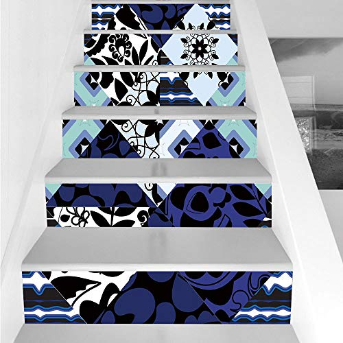 Stair Stickers Wall Stickers,6 PCS Self-Adhesive,Shabby Chic,Flower Classic Petals in Patchwork Pattern with Gothic and Arabesque Effects,Multicolor,Stair Riser Decal for Living Room, Hall, Kids Room