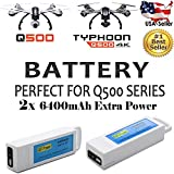 MaximalPower Gifi Power YUNEEC High Power 3S LiPo Flight Battery for Typhoon Q500, Q500+, Q500 4K, Typhoon G quadcopters and Q500 Drone Type H (2x 6400mAh 3S LiPo Battery)