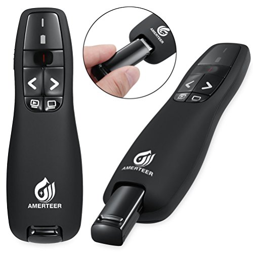 AMERTEER RF 2.4GHz Wireless USB PowerPoint PPT Presenter Presentation Remote Control Laser Pointer Clicker Flip Pen
