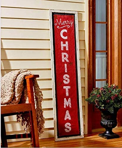 The Lakeside Collection 4-Foot Tall Merry Christmas Burlap Sign White