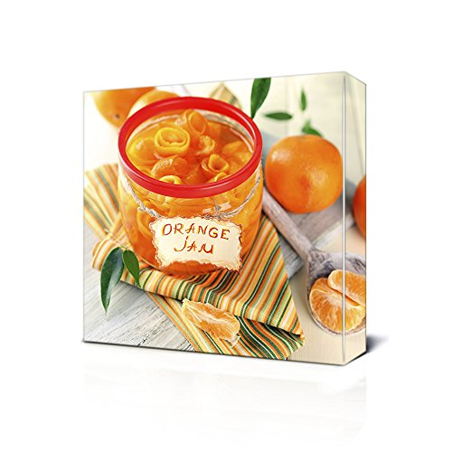 CELYCASY Canvas Wall Art Orange Citrus Mandarine Jar Stretch