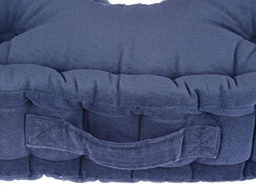 HOMESCAPES Coussin rehausseur Qualite sup/érieure 50 x 50 x 10cm Pur Coton et Velour Ultra Doux Couleur Orange Confort pour Chaise ou Fauteuil