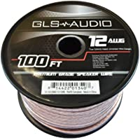 GLS Audio Premium 12 Gauge 100 Feet Speaker Wire - True 12AWG Speaker Cable 100ft Clear Jacket - High Quality 100 Spool Roll 12G 12/2 Bulk
