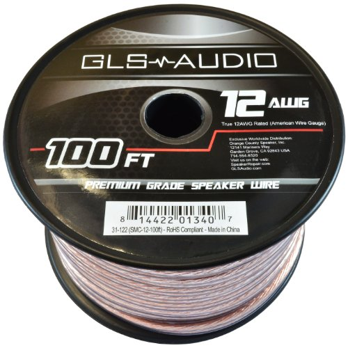 GLS Audio Premium 12 Gauge 100 Feet Speaker Wire - True 12AWG Speaker Cable 100ft Clear Jacket - High Quality 100' Spool Roll 12G 12/2 Bulk