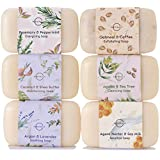 O Naturals 6 Piece Moisturizing Body Wash Soap Bar Collection. 100% Natural Made w/ Organic Ingredients & Therapeutic Essential Oils. Face & Hands. Vegan. French Triple Milled. For Women & Men. 113g