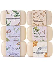 O Naturals 6 Piece Moisturizing Body Wash Bar Soap Collection. 100% Natural Made w/Organic Ingredients & Therapeutic Essential Oils. Face & Hands. Vegan Triple Milled. Gift Set Women & Men 113gr Each