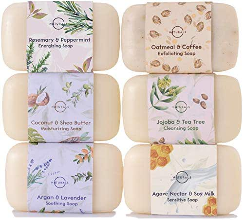 O Naturals 6 Piece Moisturizing Body Wash Soap Bar Collection. 100% Natural Made w/Organic Ingredients & Therapeutic Essential Oils. Face & Hands. Vegan Triple Milled. Gift Set. For Women & Men 4 Oz