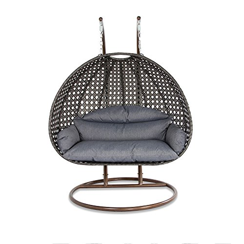 Outdoor Rattan Egg Swing Chair for 2 Persons by Island Gale | Patio Wicker Hammock with Stand and Cushion - 528 Lbs Weight Limit - 2 Stand for Extra Safety - Flat Seating Area (Patio Swing Chairs)