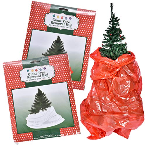 "(Gift Boutique 2 Pack Christmas Tree Removal Bags in White and Red; Fits Up to 7"" Tree; 96 Inches Long, Large Disposal Plastic Garbage Trash Bag Holiday Storage Keeper)"
