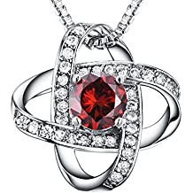 Casfine AAA Cubic Zirconia Necklace Silver Birthstones Pendant Necklace Gift for Lover & Mom & Women