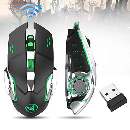 Rechargeable Laptop Mouse (LinkStyle Rechargeable Wireless Gaming Mouse with USB Receiver Color Changing Laptop Wireless Mouse, Wireless Optical Game Mice with 4 Adjustable CPI Levels for PC, Laptop, MacBook & Gaming Players)