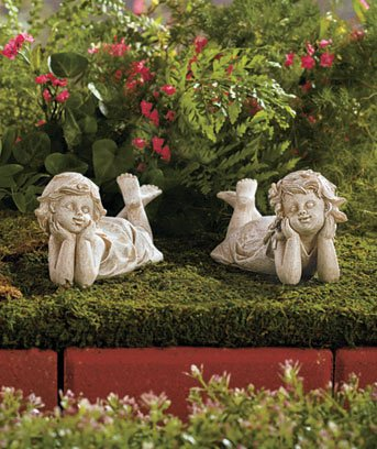 children garden statues. Set Of 2 Ceramic Children Best Friends Garden Yard Statues 7-1/2\u0026quot; A