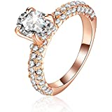 Beclgo Rose Gold Plated Heart Arrows Cut Cubic Zirconia Solitaire Wedding Party Women Jewelry (Gold, 6)