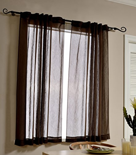 MYSKY HOME Sheer Curtains 63 Inch Length for Bedroom by Rod