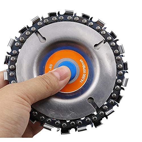 Grinder Disc Chain Plate,KOBWA 4/4.5 Inch Grinding Wheel Disc and 22 Tooth Fine Cut Carving Chainsaw Blade Set For 100/115 mm Angle Grinder,5/8 Inch Grinder Center Hole,Woodwork Circular Saw Blades
