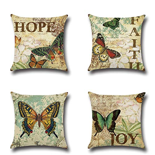 Pillow Butterfly Decorative - XIECCX Throw Pillow Covers Decorative Pillowcases Set of 4 - Linen Cotton Cover Constellation for Sofa,Bed,Chair,Auto Seat 18 x 18 inch (Butterfly)